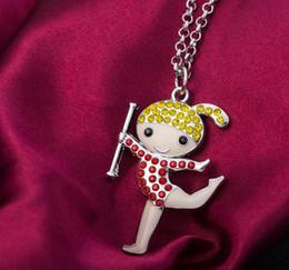 Neue art kettenglieder online-GX098 neue vier Arten Beifallaerobic, die glückliches Mädchen buntes Bling Bling Kristall eingebettetes hängendes Gliederketten-Halsketten-bestes Geschenk tanzen