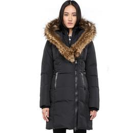 2018 зима теплая женская марка Mac Kay-F4 длинное пуховое пальто с меховым капюшоном енота меховым воротником женское пальто пуховик для женщин от