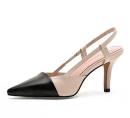 2019 nuevas mujeres sexy sandalias zapatos de mujer de cuero genuino tacones altos negro zapatos de mujer en punta boca baja desde fabricantes