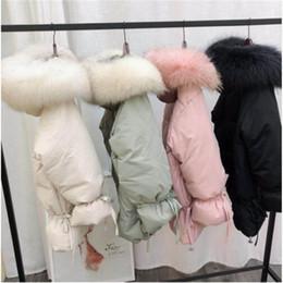 2019 lunghe giacche calde con cappuccio donna Donna Inverno Bianco Anatra Piumino Parka Medio Lungo Slim Giacche Grande Natural Raccoon Fur Hooded Warm Coat Outwear rosa sconti lunghe giacche calde con cappuccio donna