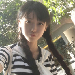 Корейский конский парик онлайн-Пятно корейская версия парик дамы длинные прямые волосы челка двойной хвост завод прямой парик головной убор