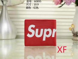 Commercio all'ingrosso e al dettaglio SUPREME portafoglio di marca europea di moda portafoglio uomo mini portafoglio pu materiale portafoglio multi-card card da