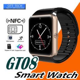 Mp3 uhr bluetooth wasserdicht online-Smart Watch GT08 Smartwatch mit Kamera Bluetooth Android Phone SIM-Karte MP3-Fitness Wasserdichtes Smart Watch Wrist Uhr