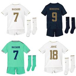 2020 kit per bambini real Madrid con calzini home away set 3 ° bambino 19 20 HAZARD BENZEMA JOVIC maglie da calcio divisa da calcio camisa de futebol da