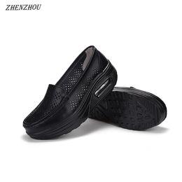 Дизайнер платье обувь Чжэньчжоу лето выдалбливают женская натуральная кожа воздушной подушке отверстие женская один дышащий трясти от