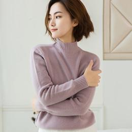 ropa de cachemira pura Rebajas 2018 nuevo suéter de cachemir ropa de mujer suéter de manga larga de cuello medio alto femenino 100% puro cálido jersey