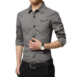 camicie uomo Sconti Camicia Uomo Autunno Inverno Casual Uomo Camicia Poliestere Cargo Slim Button Solid manica lunga Harajuku 5.22