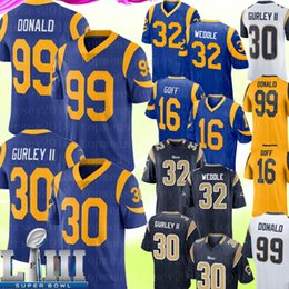 2019 jersey de gurley Mens 99 Aaron Donald Los Angeles Rams Jersey 30 Todd Gurley II 16 Jared Goff 32 Eric Weddle Jersey 2019 camisetas de fútbol bordado