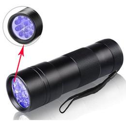 Batterie de scorpion en Ligne-12 led UV lampe de poche violet 395-400NM Ultra Violet lumières en alliage d'aluminium lampes de poche Torche Scorpion Detector Finder lampe
