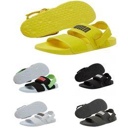 2019 sandálias de diamante de ouro 2019 PUMA designer de sandálias para amantes homens e mulheres Leadcat YLM Lite amarelo preto branco verde deslizante chinelos sapatos de praia sapatos de plataforma casuais