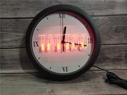 luci del tatuaggio al neon Sconti 0B550 Tattoo Shop Bar Pub Art Piercing APP RGB Segnali 5050 luce al neon LED Orologio da parete