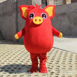 Vestido de cerdo online-NUEVO 2019 Venta directa de fábrica Yellow Pig Red Pig Mascot Party Costume Game Adult Dress Parade Animal Birthday