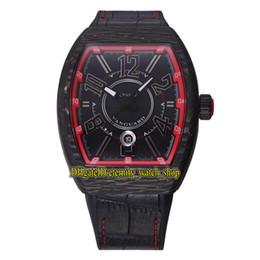 Materiale in pelle rossa online-Alta qualità Nuovo VANGUARD luminoso materiale del carbonio cassa rossa data quadrante Miyota giapponese orologio automatico cinturino in pelle cinturino sportivo orologi