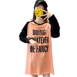 2019 vestiti per l'allattamento T-shirt con cerniera a lattazione aperta stile orizzontale lungo Abito donna in cotone bianco arancione gravidanza Abbigliamento alta qualità9140 vestiti per l'allattamento economici