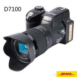 Lentes de cámara de video digital online-DHL Free HD POLO D7100 Cámara digital 33Million Pixel Auto Focus Cámara réflex profesional Cámara de video 24X Zoom óptico de tres lentes