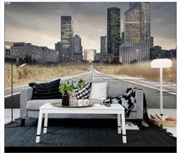 Paesaggistica unita online-All'ingrosso-personalizzato 3d seta foto murale carta da parati Europa e Stati Uniti moderno vento autostrada città paesaggio TV divano sfondo muro