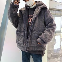 2019 schwarze grabenmänner 2018 Winter Männer verdicken Trench Lamm lose Mäntel Baumwolle gefütterte Kleidung Schnee Jacken Marke lässig in warmen grau / schwarz Parkas günstig schwarze grabenmänner