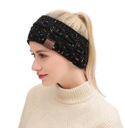 2019 pinzas para el cabello de tul Dropshipping CC de punto Crochet diadema otoño invierno nuevas mujeres Deportes Headwrap Hairband Fascinator Hat Head Vestido Headpieces 21 colores