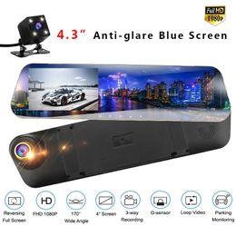 Vista de pantalla azul online-La cámara del coche dashcam registrador de la conducción automática con espejo retrovisor de 4,3 pulgadas de pantalla azul de doble lente de video Camara Coche Automóvil