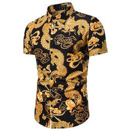 14671d02f3 Camisa de flores de estilo chino 2019 Nuevo 3D Dragón patrón Imprimir  Streetwear Moda Casual Hombres de manga corta camisa hawaiana