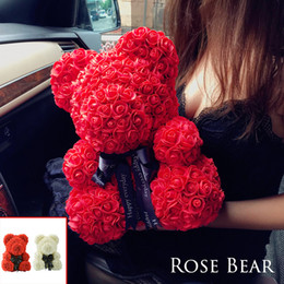 Fiore artificiale rosso per natale online-2018 Drop Shipping 38cm Big Red Teddy Bear Rose Flower Regali di Natale artificiali per le donne Regalo di San Valentino