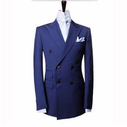 Куртка из королевской коровы онлайн-HB019 Royal Blue Men Suits Jacket Double Breasted Groom Wedding Dress Suits custom made Formal Work Business Man Suit 2018