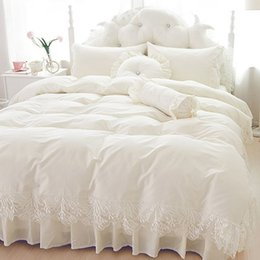 ruffle duvet set Coupons - Wedding lace bedspread princess bedding sets queen king size 4 6pcs Girls Ruffles duvet cover bed skirt bedclothes cotton CY200519