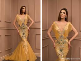 Платья из красного золота онлайн-Русалка Gold Beyonce Pageant Платья для интервью 2019 Длинные Bling Вечерние платья Конструкции Последние платья знаменитостей Red Carpet