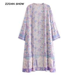 2020 blusas de lavanda 2019 nuevo de las mujeres de Bohemia V del cuello de flor de la camisa de impresión Kimono Negro playa de vacaciones en Long Cardigan manga larga tapas de la blusa blusas de lavanda baratos