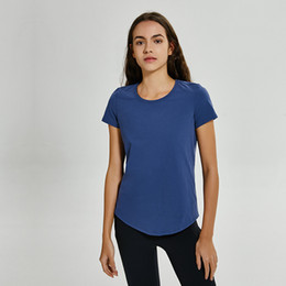 Le donne vedono attraverso le parti superiori online-LU-58 No-see through yogaTops T-Shirt Colori Solidi Moda Donna Outdoor Yoga Serbatoi Sport Running Gym Clothes