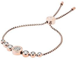 pulseira de ouro jóias novas senhoras da moda Desconto Novo Design Rose Silver / 18 K Ouro Moda Flor de Cristal Deslizante Ajustável Senhoras Pulseira Para As Mulheres Jóias Belo Casamento / Presente de Noivado
