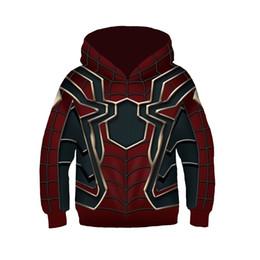 Çocuklar Demir Örümcek Adam Cosplay Triko Hoodie Moda 3D Baskı Kazak Boys Spiderman Kazak Kostüm ClothingMX190923 nereden atkı askısı tedarikçiler