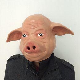 2019 cabeça de porco de borracha Engraçado Latex Pig Máscara Facial bonito Cabeça de animal Masquerade Halloween Party Máscaras Cosplay Borracha de silicone para Adultos