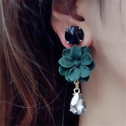 2019 gioielli in pietra nera FYUAN Vintage Bohemia Natural Stone Black Crystal Grande orecchino per le donne Gioielli di moda Fiore verde Ciondola gli orecchini di goccia Bijoux gioielli in pietra nera economici