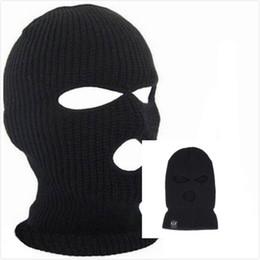 Sombreros para la nieve online-htsport Negro de punto 3 Agujero esquí máscara BALACLAVA Sombrero careta Beanie Cap nieve caliente del invierno de 2018 de moda de verano