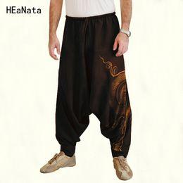 2019 pantaloni punk baggy Pantaloni da uomo Harem indiano Plus Size Pantaloni a cavallo basso Nepal Baggy Hippie Baggy con coulisse Casual Punk Yoga pantaloni punk baggy economici