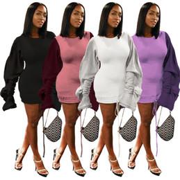 Elegante manga xxl vestidos on-line-Mulheres escovado mini vestidos roupas de outono inverno Elegante sexy clube com painéis de cordão manga comprida plissado saias longas roupas femininas S-XXL 620