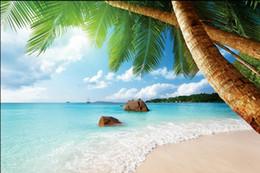 Smaragdseide online-TROPICAL BEACH PARADISE BLAU PALM EMERALD Art Silk Poster 24 x 36 Zoll 24 x 43 Zoll 4865