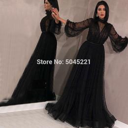 2019 barato sexy noite vestidos Preto Muçulmano Vestidos de Noite 2019 A-line Mangas Compridas Tulle Pérolas Longo Islâmico Dubai Saudita Árabe Vestido de Noite Formal