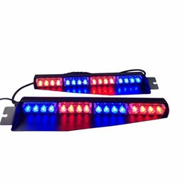 Argentina Parabrisas 32LED 32W LED de luces de emergencia luces de emergencia visera Advertencia Strobe Beacon de Split montaje de la lámpara rociada de la cubierta (Rojo bluered Blu cheap led hazard warning lights Suministro