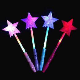 Variedade leve luz on-line-Colorido LED Estrela Varinha Mágica Crianças Brinquedos Luminescentes Variedade Torção Flash de luz Bolha Flor Glow Vara Coração Oco Varinha de Amor vara