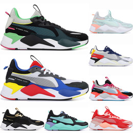 bright shoes Promo Codes - Men Women RS-X White Blue Blue Atoll Trophy trainers designer mens Fuchsia Purple Athletic Fashion Bright Peach Sneakers Sport Casual Shoes