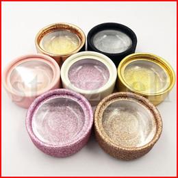 Faux cils en Ligne-Round Faux Cils cas Cils boîte avec Cils carte ronde emballage boîte cosmétiques vides Lashes Eye Boîtes emballage
