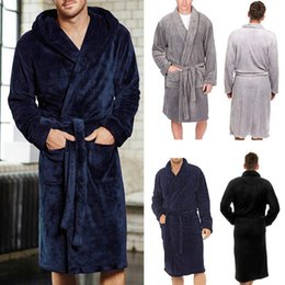 52bf7948bee hotel robes Promo Codes - Luxury Men s Long Sleepwear Robes Shawl Collar  Fleece Bathrobe Spa Gown