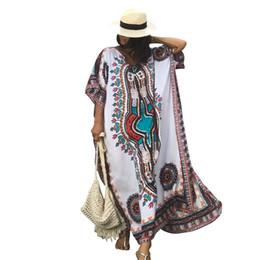 2019 cubiertas de caftán Tallas grandes para Mujer Verano Africano Estampado Étnico Kaftan Bikini Cover up Maxi Vestido de baño Traje de baño traje de baño Mujeres Robe De Plage cubiertas de caftán baratos