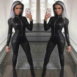 Tuta di un pezzo nero delle donne online-MUXU nero tuta in pelle PU sexy pagliaccetti delle donne tuta corpo mujer tute manica lunga abbigliamento streetwear un pezzo