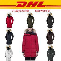Winter Frauen unten Parkas Hoody Kanada SHELBURNE Wolf Fur Damen Jacken Reißverschluss Designer schwarze Armee grüne Jacke warmer Mantel Außen Parka