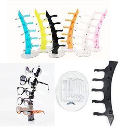 Multi Cores Acrílico 5 pares óculos de sol óculos Mostrar cremalheira Contador Stand Holder de Fornecedores de sacos de sobremesa