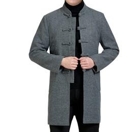 La tunica nera si adatta agli uomini online-WAEOLSA Uomo Giacca tunica etnica Giacca blazer nero Giacca Tangzhuang Uomo Giacche orientali Maschile collo alla coreana Giacca tweed XL