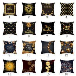 Padrões violetas on-line-Feliz Natal Padrão de Ouro Impresso Capa de Almofada Para Casa Sofá Sala Decorativa Throw Pillowcases de Poliéster 45 * 45 cm